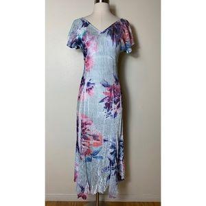 Komarov floral crinkle v neck lace sleeve dress